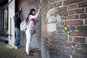 Repairing the Waag in Amsterdam with LEGO during a workshop with Jan Vormann, photography Johannes Abeling