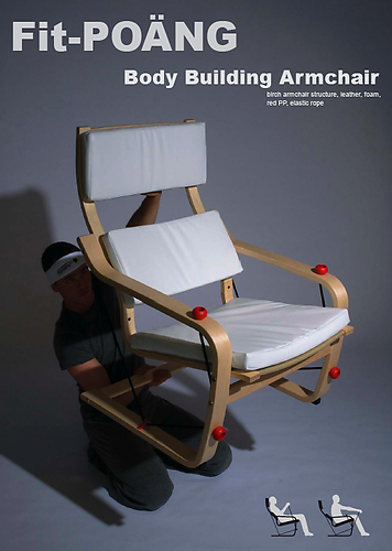 Fit - POÄNG: birch armchair structure, leather, foam, red PP, elastic rope