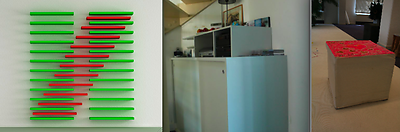 From left to right: LACK ART by Michiel Cornelissen; Kitchen build-in closet by Nancy van Asseldonk; Stool by Ans Bakker